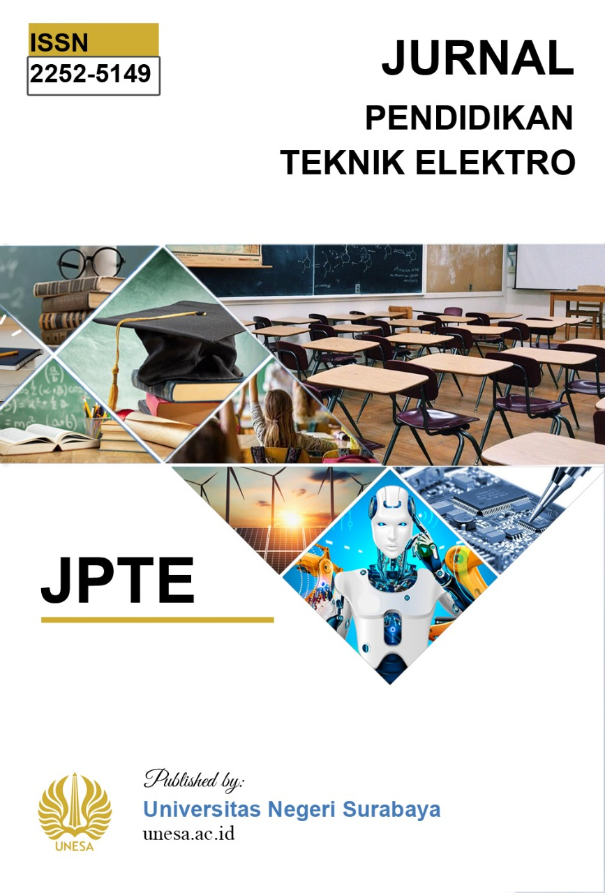 JPTE (Jurnal Pendidikan Teknik Elektro) mempublikasikan hasil penelitian ilmiah dosen, mahasiswa dan peneliti di Bidang Ilmu Pendidikan Teknik Elektro berupa penelitian dasar, perencanaan dan perancangan. JPTE terbit secara berkala empat bulanan (Januari,